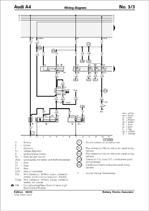 Wiring Diagrams For Home Audio in addition SEAT Car Radio Wiring Connector in addition Wiring Diagrams Of 1964 Rambler 6 And V8 Classic And Ambassador Part 1 59822 moreover Power Seat Wiring Diagram Of 1965 Ford Thunderbird 4 Way together with Audi A4 1996 2001 Repair Manual. on audi a4 quattro wiring diagram electrical circuit