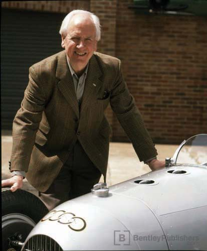 Karl Ludvigsen with a replica of a 1934 A-Type Auto Union.