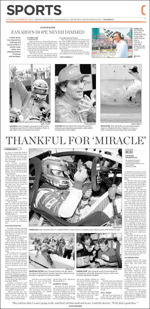 Review of Alex Zanardi - My Sweetest Victory from the Miami Herald, December 25, 2004