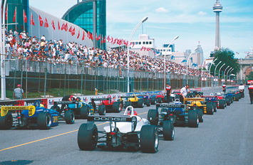 The Barber Dodge pro Series field of Reynard 98E's prepares for the start of the 2001 Toronto GP.