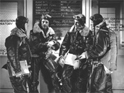 Bill Milliken (far right) and other Boeing Flight Test staff members brief for a B-17 high-altitude test, ca 1942.