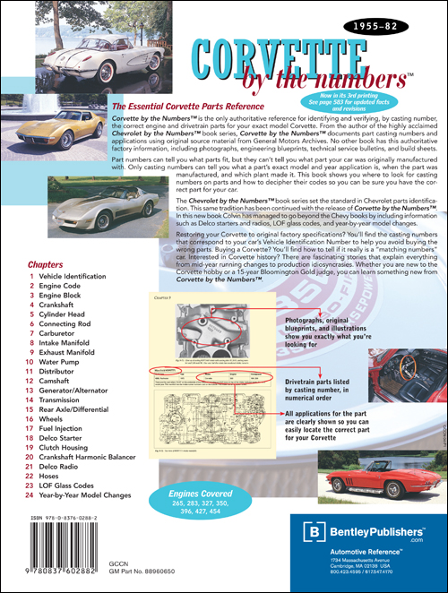 Corvette by the Numbers back cover