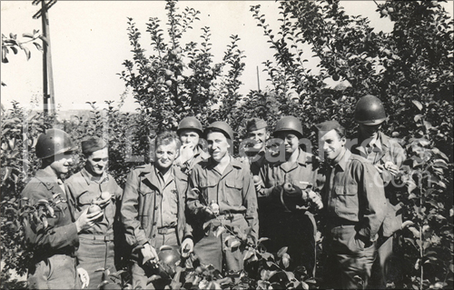 1945. Philip Lane, third from the left, with members of the 10th Armored Division, on occupation in the Garmish-Partenkirchen area.