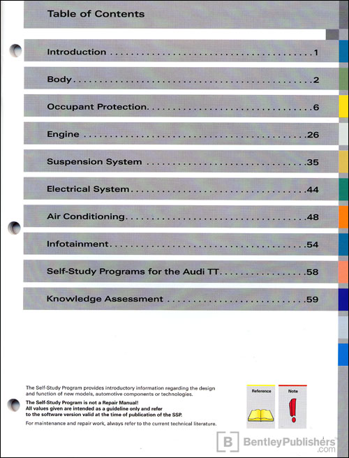 The 2008 Audi TT Vehicle Introduction Technical Service Training Self-Study Program Table of Contents