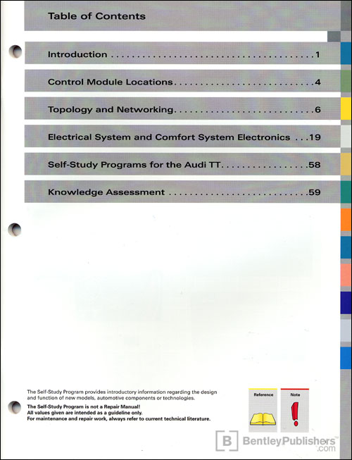 The 2008 Audi TT Electrical and Infotainment Systems Technical Service Training Self-Study Program Table of Contents