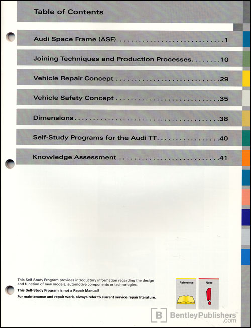 The 2008 Audi TT Body Technical Service Training Self-Study Program Table of Contents