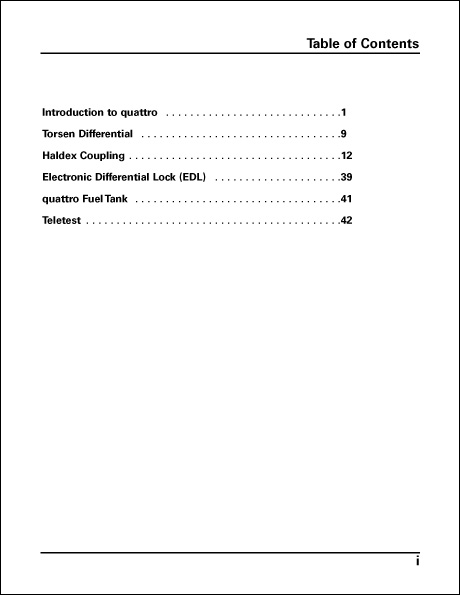 Audi quattro The Evolution of All-Wheel Drive Technical Service Training Self-Study Program Table of Contents