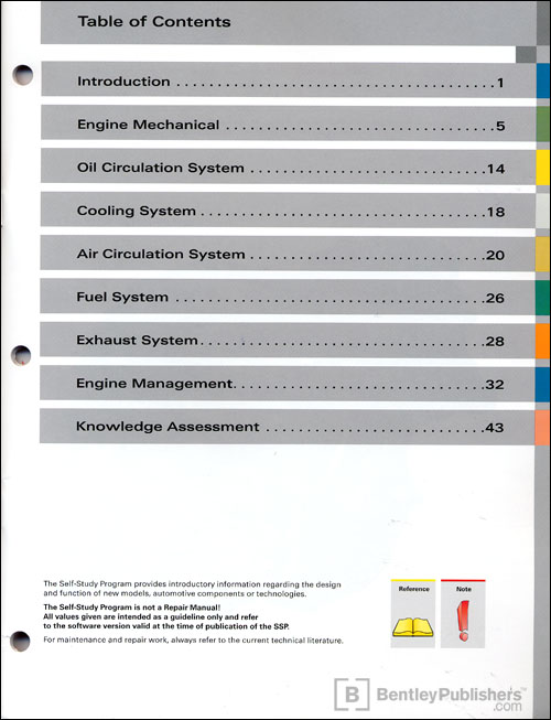 The Audi 4.2-liter V8 FSI Engine Self-Study Program Table of Contents