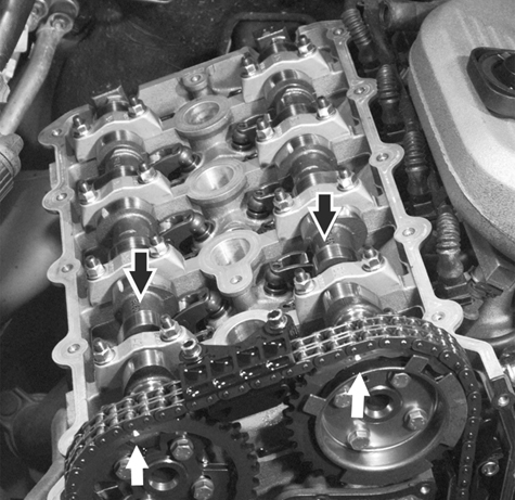 Engine and cylinder head service, including VANOS timing chain setup and adjustment.