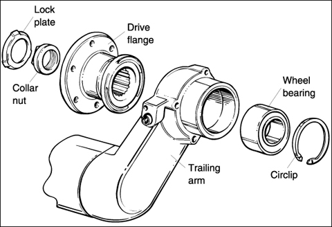 Fig. 4-14. Rear wheel bearing assembly.