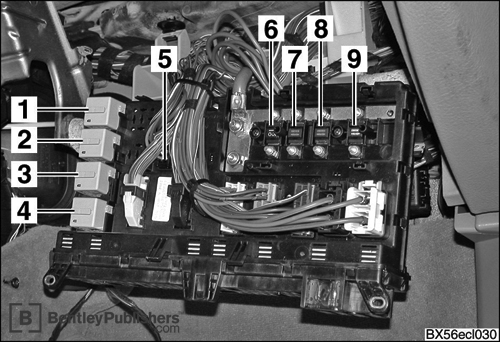 Locations of hundreds of electrical components: Fuse and relay panel behind glove