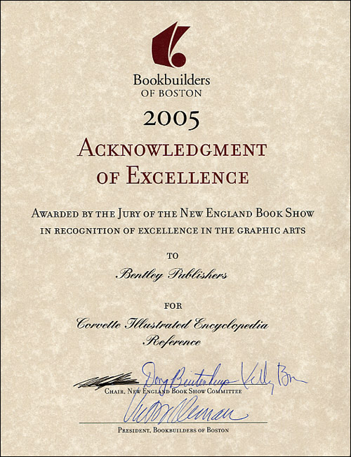 2005 Bookbuilders of Boston Acknowledgement of Excellence for Corvette Illustrated Encyclopedia