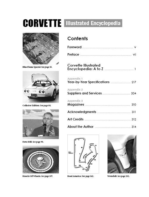Corvette Illustrated Encyclopedia table of contents