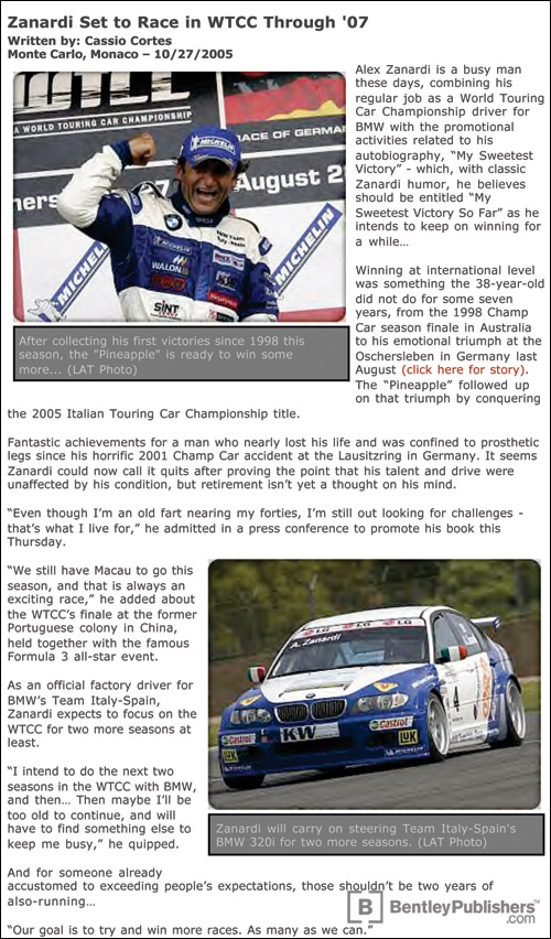 Article about Alex Zanardi from Speed TV