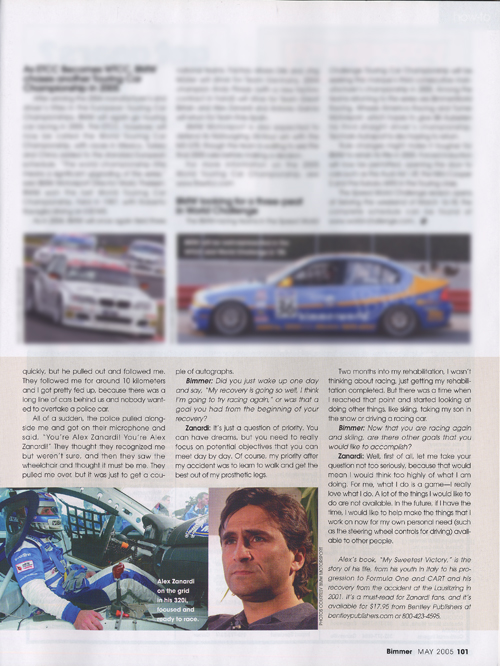An Interview with Alex Zanardi from Bimmer - May 2005