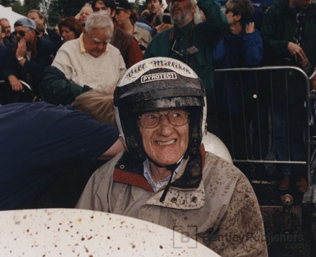 Bill Milliken, age 87, at the wheel of FWD Miller; 1997, Goodwood Hillclimb, England.  Excerpted illustration from Equations of Motion (BentleyPublishers.com watermark not printed on actual product.)