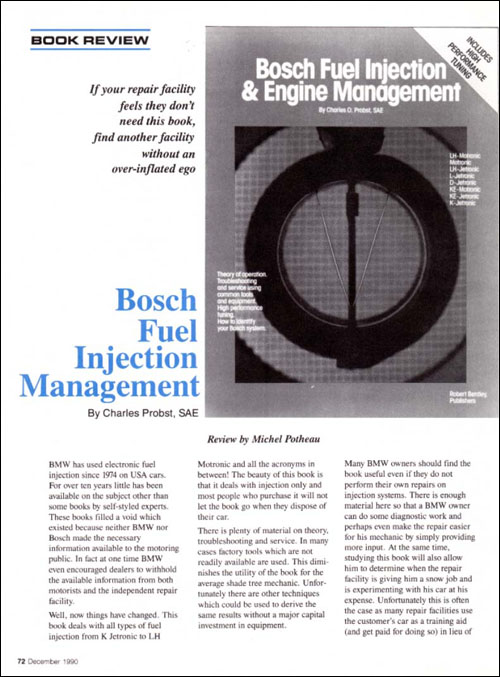 Bosch Fuel Injection and Engine Management review from Roundel, December 1990, p72