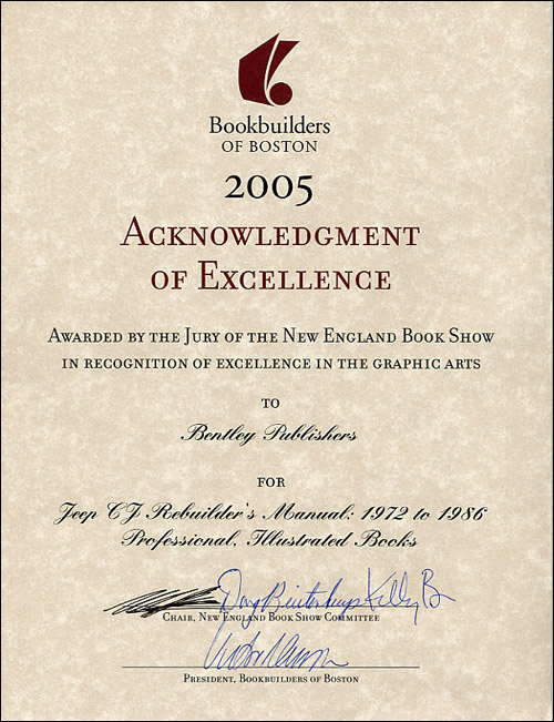 2005 Bookbuilders of Boston Acknowledgement of Excellence for Jeep� CJ Rebuilder