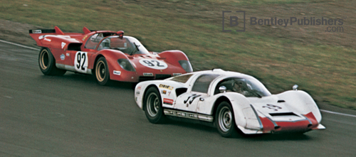 At the Watkins Glen Six Hours, 1970, a Carrera 6 (Bartling/ Peterman/Ranier) leads the third-place finisher, a Ferrari 512S (Andretti/Giunti). Victory went to two Porsche 917's.