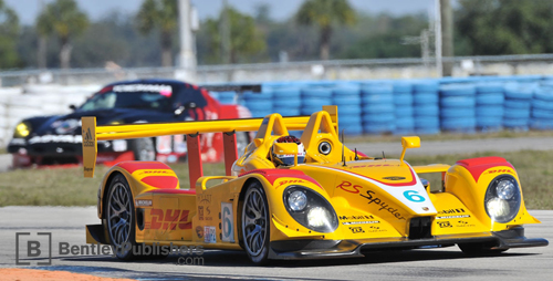 At Sebring in January of 2008 the Penske team's RS Spyder strutted its stuff in the ALMS practice session, showing that despite a weight penalty it still had the credentials to lead the field.