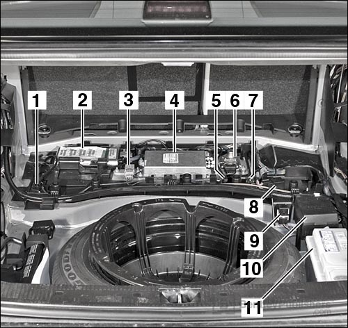 Locations of hundreds of electrical components: Communication equipment under trunk floor. 