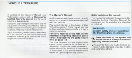 Volkswagen Golf Owners Manual: 1996
