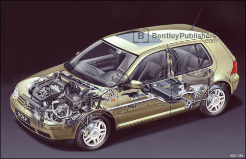 Cutaway of Volkswagen Golf (A4 platform). 