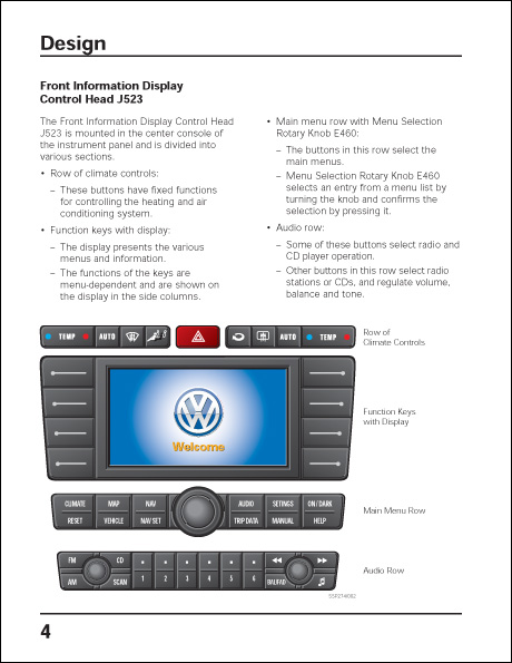 Volkswagen Phaeton Infotainment System Design and Function Technical Service Training Self-Study Program Front Information Display Control Head J523 Design