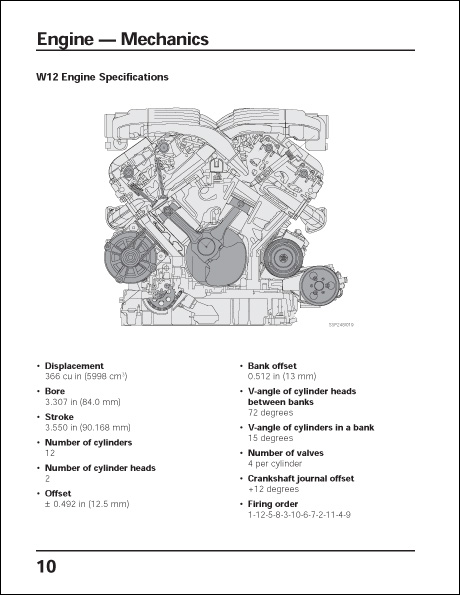 Volkswagen W Engine Concept Technical Service Training Self-Study Program W12 Engine Specifications