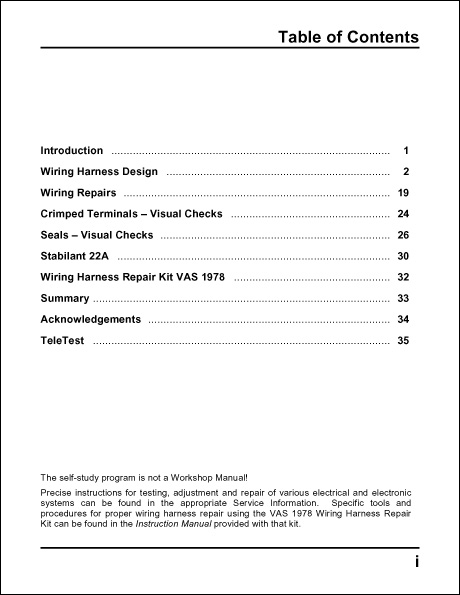 Table Of Contents Volkswagen Technical Service Training