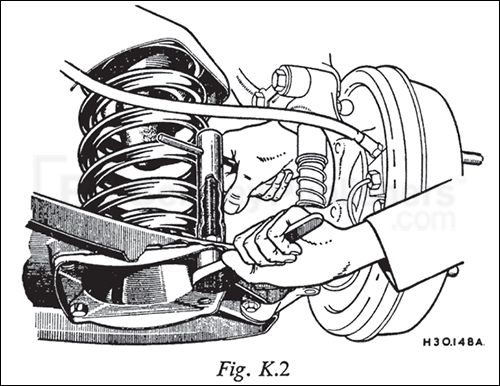 Using a pair of bolts to remove or replace a coil spring, page 151.