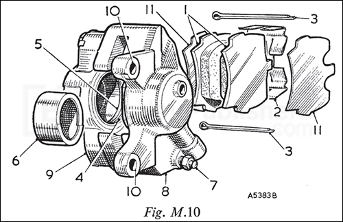 The front brake caliper components, page 172.