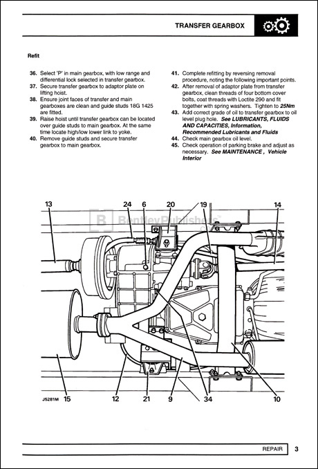 Land Rover Discovery Official Workshop Manual: 1995-1998 Transfer Gearbox Refit