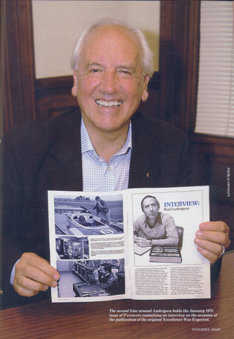 The second time around: Ludvigsen holds the January 1978 issue of Panorama containing an interview on the occasion of the publication of the original Excellence Was Expected.