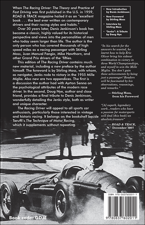 The Racing Driver by Denis Jenkinson back cover