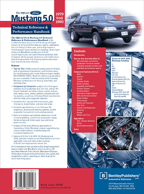 Official Ford Mustang 5.0 Technical Reference and Performance Handbook: 1979-1993 back cover