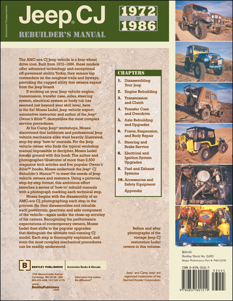 Jeep® CJ Rebuilder's Manual: 1972 to 1986 back cover