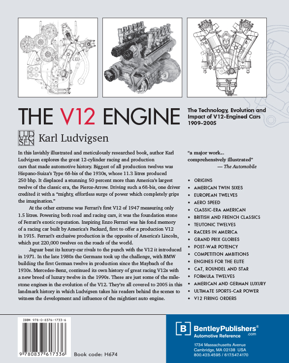 The V12 Engine by Karl Ludvigsen back cover