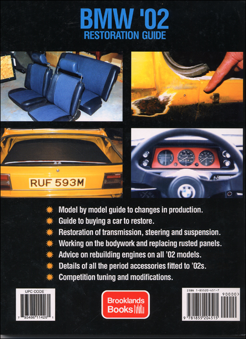 BMW '02 Restoration Guide: 1968-1976? back cover