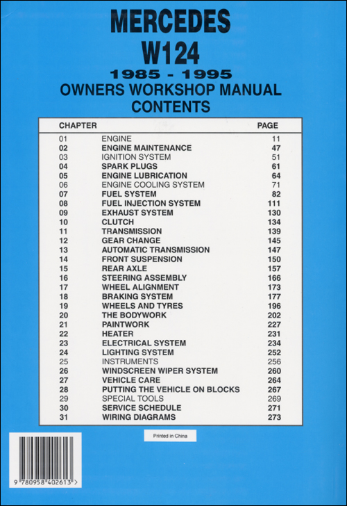 Mercedes W124 Repair Manual: 1985-1995 back cover