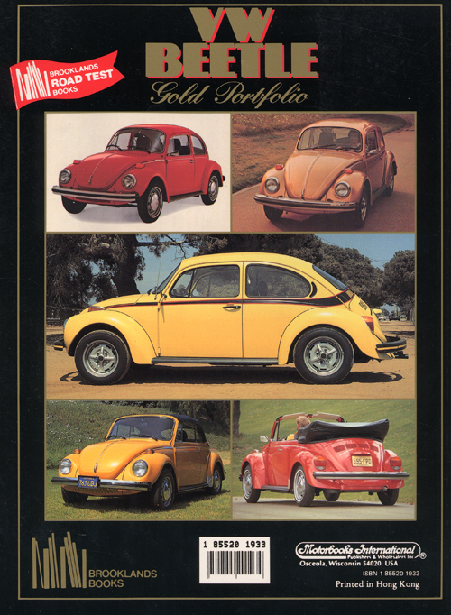 Volkswagen Beetle Gold Portfolio: 1968-1991? back cover