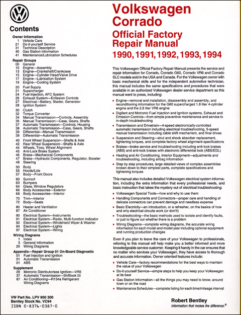 Volkswagen Corrado Repair Manual: 1990-1994 back cover
