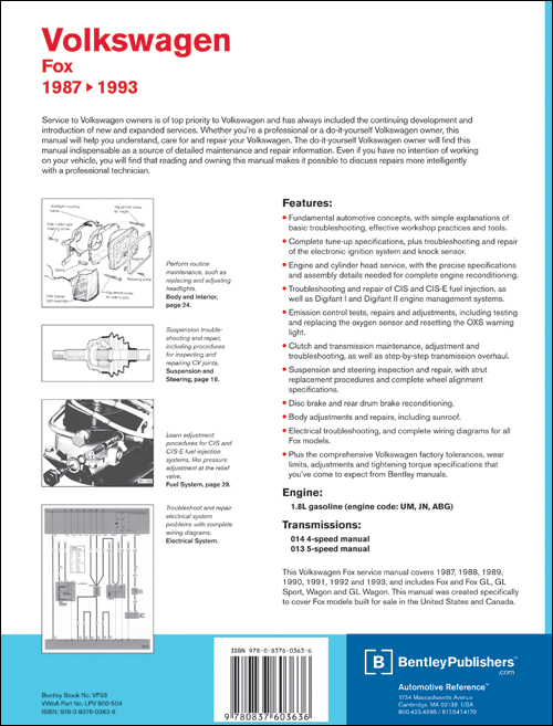 Volkswagen Fox Service Manual: 1987-1993 back cover