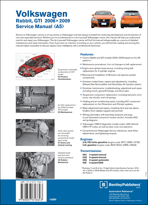 Volkswagen Rabbit, GTI Service Manual: 2006-2009 back cover