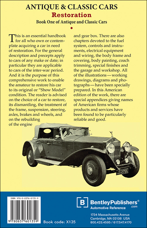The Restoration of Antique and Classic Cars back cover