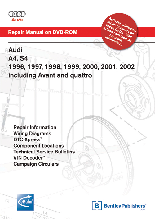 Audi A4, S4: 1992-2002 Repair Manual on DVD-ROM front cover