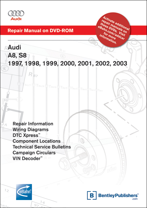 Audi A8, S8: 1997-2003 Repair Manual on DVD-ROM front cover