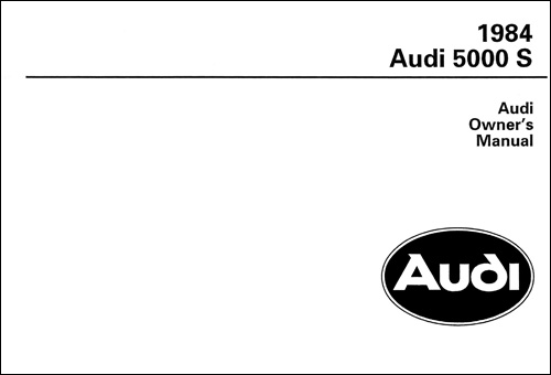 Audi 5000 S 1984 Owner's Manual Front Cover