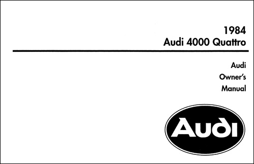 Audi 4000 Quattro 1984 Owner's Manual Front Cover