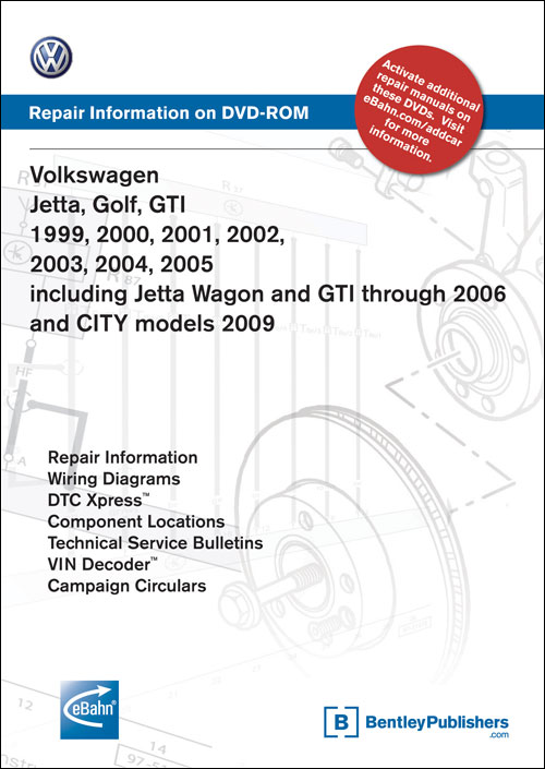 Volkswagen Golf, GTI: 1999-2006, Jetta: 1999-2005, Jetta Wagon: 2001-2006 Repair Manual on DVD-ROM front cover